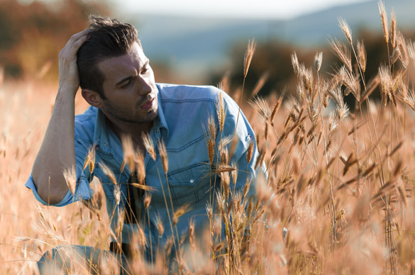 Vintage fashion image of young handsome man in field - How Much Space And Time Does a Virgo Man Need