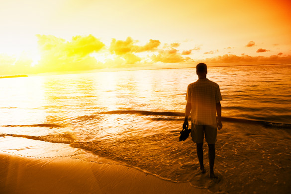 young man and sunset on Caribbean sea - How To Make A Virgo Man Want To Marry You